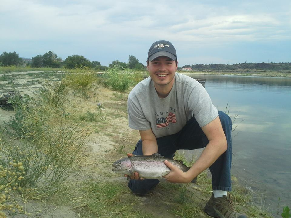 20 inch trout caught in the pond on Tenkara rod